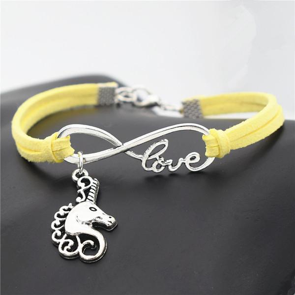 Yellow Leather Suede Bracelets For Women Men Female Male Braided Infinity Love Horse Head Unicorn Pendant Adjustable Punk Pulseira Jewelry