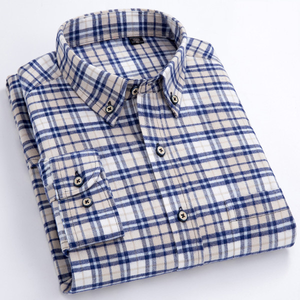 Men's Long Sleeve Plaid Checked Flannel Shirt With Pocket Slim-fit Comfortable Soft 100% Cotton Smart Casual Button-down Shirts Y190422