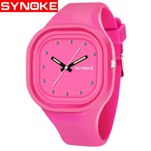 SYNOKE Мода кварцевые часы Мужчины Женщины Спорт наручные часы Top Brand Известный Мужской Женский Часы кварцевые Силиконовые часы-Relogio часы