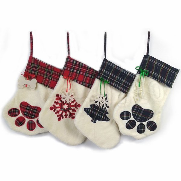 new Dog Paw Christmas Stocks Cute Tree Christmas Decorations Stocking Candy Gift Bags Decorations Stocking Party Supplies T2I5362
