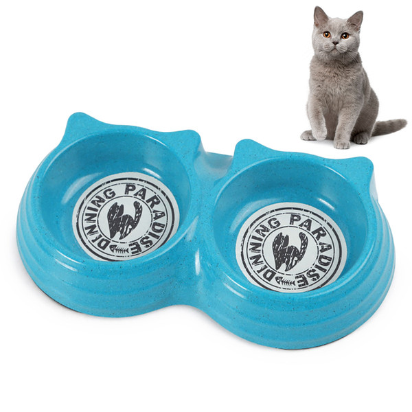 double pet bowls water feeder for dog puppy cats pets supplies feeding dishes pet bowl lovely cartoon cat face shape bowls