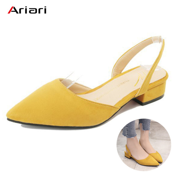 2019 Dress Ariari 2018 Spring Women Low Heel Flock Sandals Korean Style Summer Slingbacks Shoes for Women Sweet Dress Shoes Lady Pumps