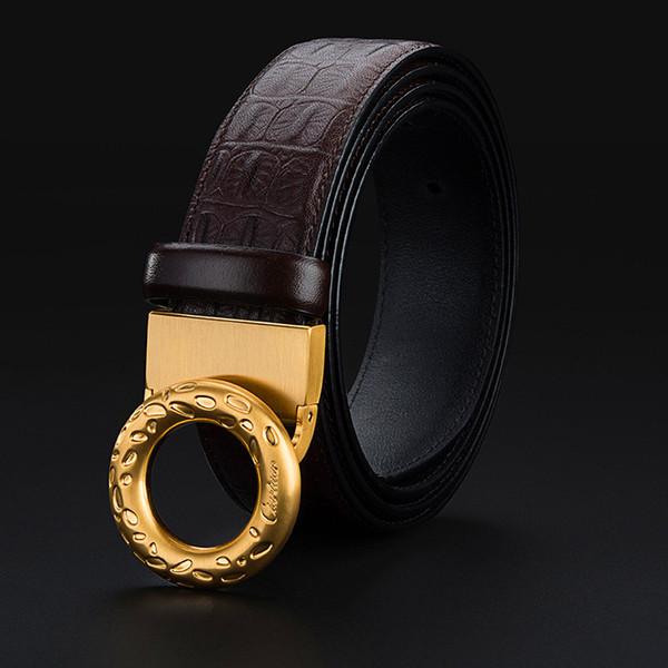 Cowhide Leather Buckle Belt Men Fashion Bussiness Buckles Belts Brand Designer Genuine Leather Accessories Jeans Strap
