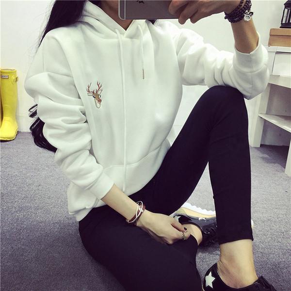 Herbst Frauen Casual Hoodies Sweatshirts Deer Stickerei Pullover Tops Große Taschen Mit Kapuze Hoodies Sweatshirts