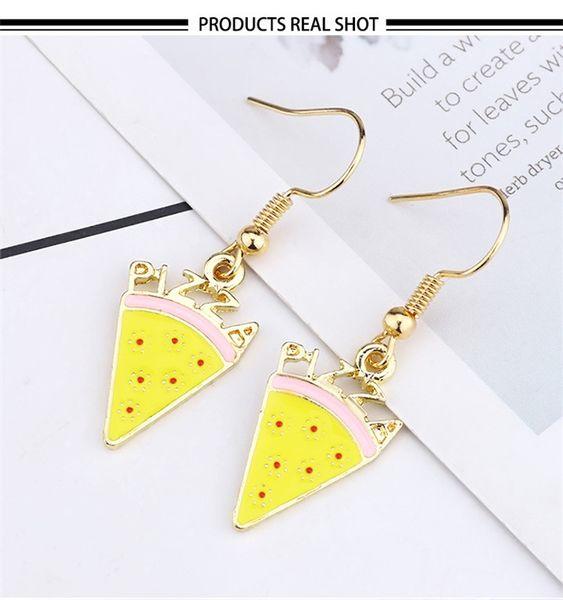 2020 Fashion Sweet Food Pizza Hook Earrings For Women Enamel