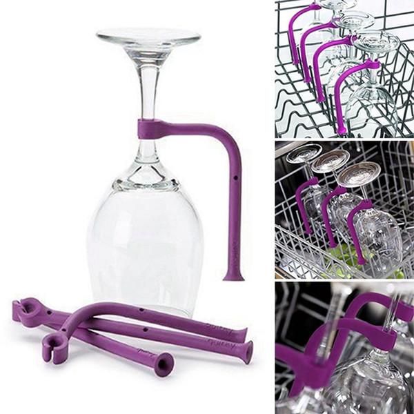 4pcs/set Upside-down Goblet Bracket Adjustable Silicone Wine Glass Rack Goblet Holder Safer Stemware Saver W9836
