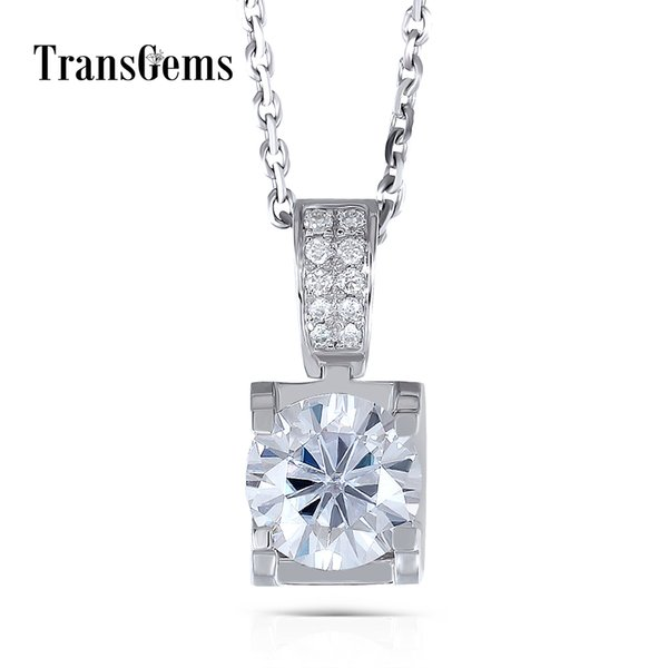 Transgems 14k White Gold 1.04ctw 6.5mm F Color Near Colorless Moissanite Pendant Necklace With Accents For Women Free Shipping Y19032201