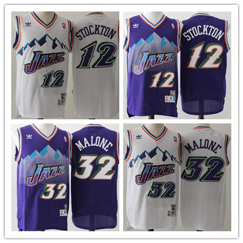 on sale 7adf8 58a98 Stitched 32 Karl Malone Jersey Vintage Purple White 12 John ...