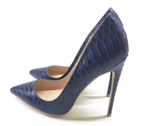 Women's Shoes Dark blue serpentine Cusp Shallow mouth Fine heel High-heeled shoes Single shoe 8cm 12cm 10cm party red bottom large size 44