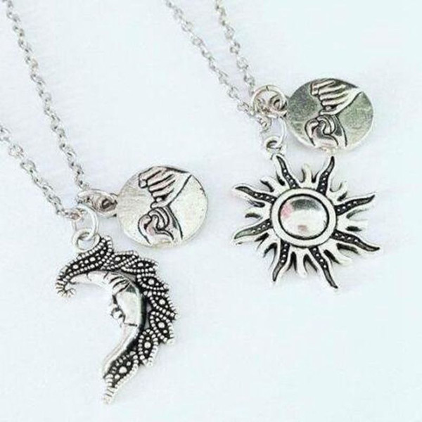 BFF Sun&Moon Necklace Pendant Hand In Hand Pinky Swear Promise Best Friends Couple Choker Friendship Necklaces For Women Jewelry New