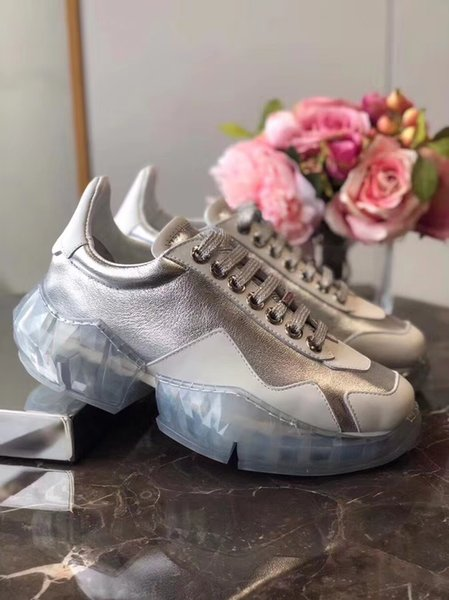 2019 new woman luxury designer real leather Crystal Casual shoes 7 layer composite bottomTorre shoe increased thick size35-40