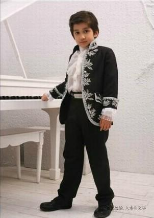 New Arrivals Ivory/Black Embroidery Stand Collar Boy's Formal Wear Occasion Kids Tuxedos Wedding Party Suits (Jacket+Pants+Girdle+Tie)