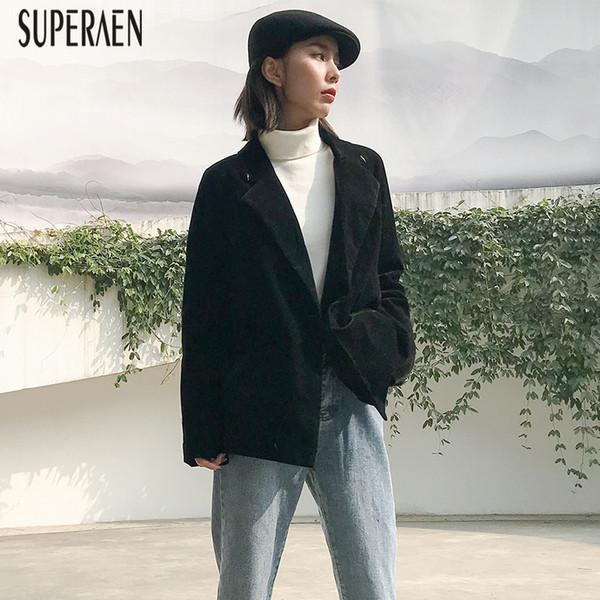SuperAen Corduroy Jacket Female Winter 2018 New Korean Style Wild Women Jacket Retro Solid Color Casual Suit Female