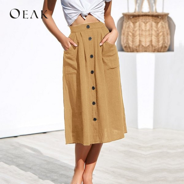OEAK Summer High Waist Women Skirts with Buttons Bodycon Loose A-Line Maxi Skirt Pockets Women faldas mujer moda 2019