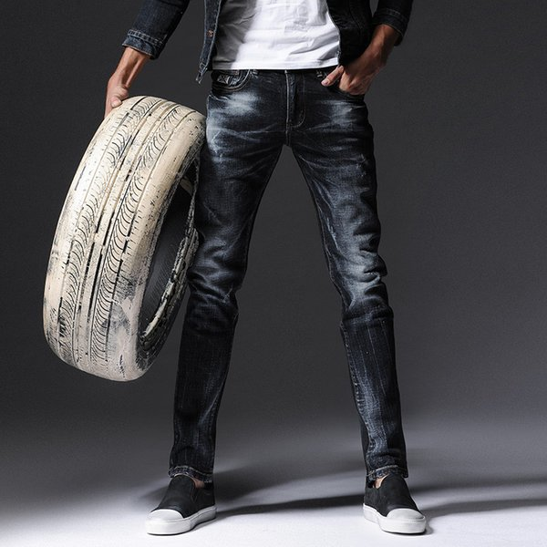 2016 new Korean style Slim jeans men were thin elastic feet jeans men's tide pants