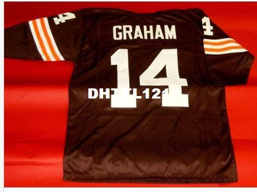 best selling Men #14 OTTO GRAHAM CUSTOM 3 4 SLEEVE RETRO College Jersey size s-4XL or custom any name or number jersey