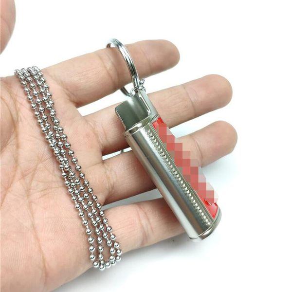 Halsketten-Anhänger Holster Lighter Shell-Hülsen-Schlüsselring-Schutzhülle Haut Tragbare innovatives Design für Zigaretten Herb Bong Rauchen Rohr
