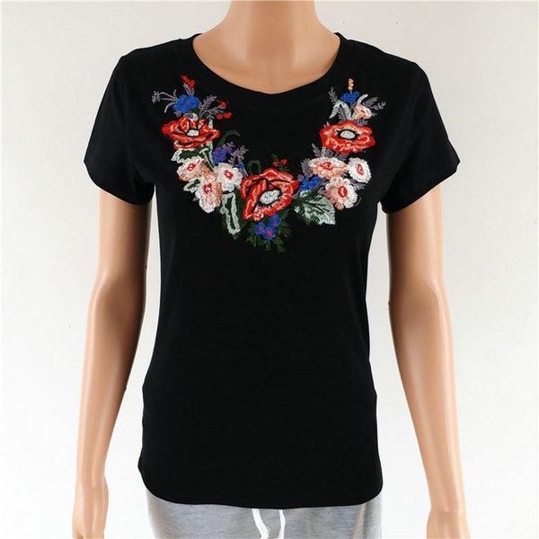 Broderie Florale D'été T-shirt Femmes Mode Haut Coton Tees Automne Tops Casual Stretch Knitwear À Manches Courtes Punk Tees