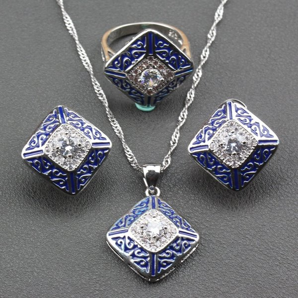 Classic Wedding Trinket Charming Square Blue Jewelry Sets 925 Sterling Silver Stud Earrings Pendant Necklace Ring For Women