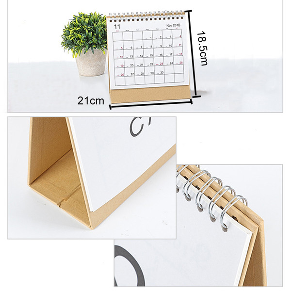 best selling 2019 Writable Weekly Planner Monthly List Plan Daily Calendar Desktop Creative Office White Stand Simple 18.5*21cm Calendar DH0645-1 T03