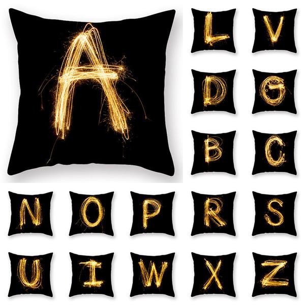 купить оптом Black Word Design наволочка Ins Gold A Z Print чехол для подушки Home Hotel наволочки 26 стили на выбор отus Baby в категории детские