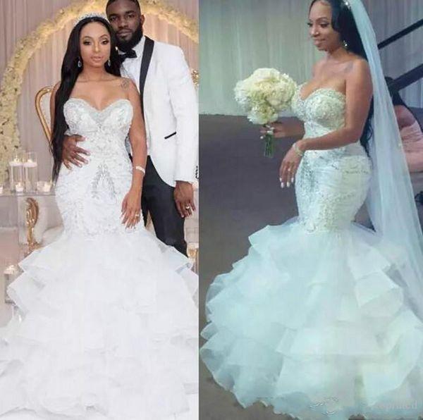 Luxus Schatz Organza Perlen Meerjungfrau Brautkleider Afrikanische Tiers Ausgestattet Spitze Land Applique 2019 Brautkleid Zug Braut Kleid Benutzerdefinierte