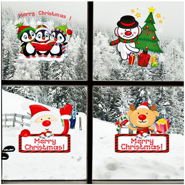 Natal Santa dos desenhos animados Noel Elk Sinos adesivos de parede Home Decor PVC removível autoadesiva Decorações de Natal Wallpaper