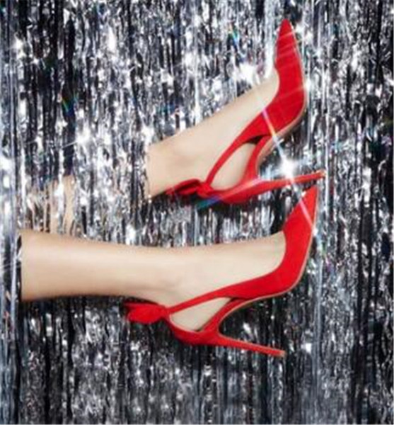 Women Fashion Design Pointed Toe Suede Leather Stiletto Heel Back Knotted Pumps Red Black Cut-out High Heels Formal Dress Shoes