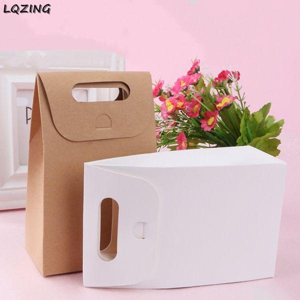 Retail handmade white paper cookie cake box kraft paper West dessert bag Portable handle sweet Wedding candy bag stand up bottom
