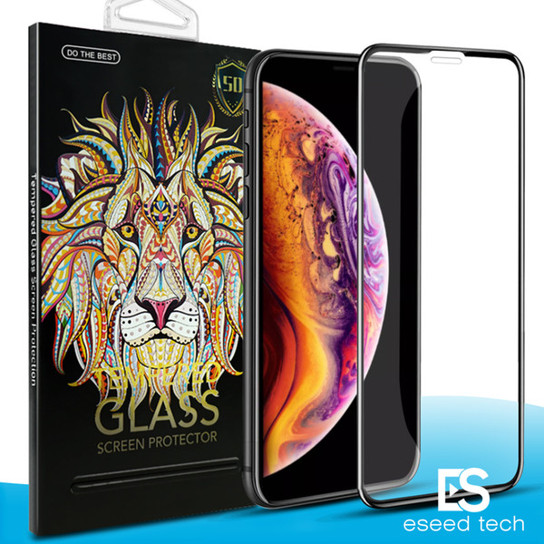 5D Curvo Cobertura Completa Protetor de Tela de Vidro Temperado Para O Novo Iphone XR XS MAX Cobertura Completa Filme Protetor de Tela de Borda 3D Para O Iphone X 7 8 Plus