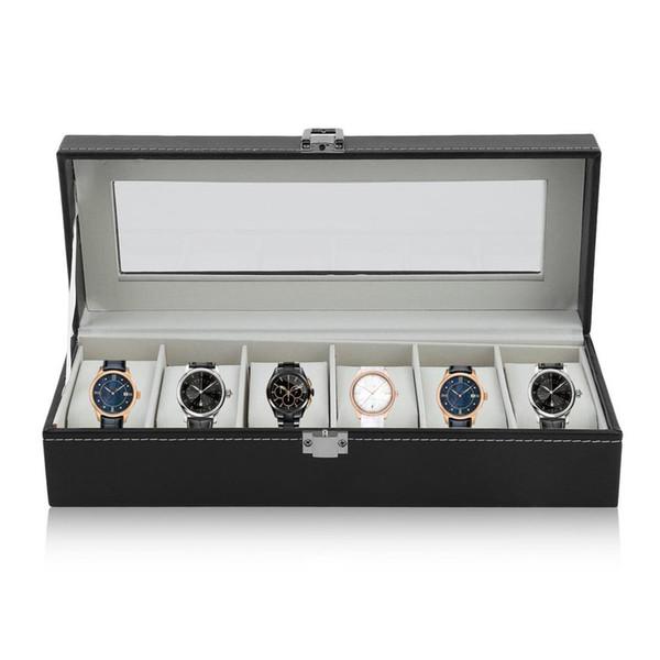Assista Box Watch Case Grande 6 Mens Preto Pu Couro Display Vidro Top Jóias Case Organizer Box - Preto