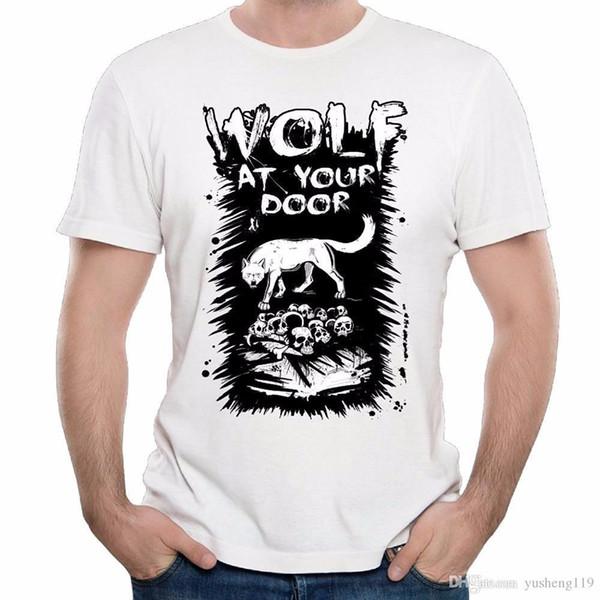 T-Shirt Shop Herrenmode O-Neck Kurzhülse Wolf der Männer an Ihrer Tür Schädel Nettes T-Shirt T-Shirts