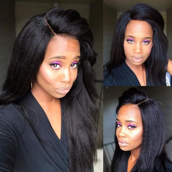 Full Lace Human Hair Wigs Virgin Hair Yaki Straight Brazilian Lace Front Wig Brazilian Virgin Hair Glueless For Black Women Bleached knots