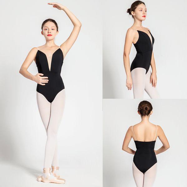 Bale Mayoları Yetişkin Yeni Stil Siyah Seksi Rahat Uygulama Dans Elbise Kadın Jimnastik Leotard Ucuz Bale Dans Giyim