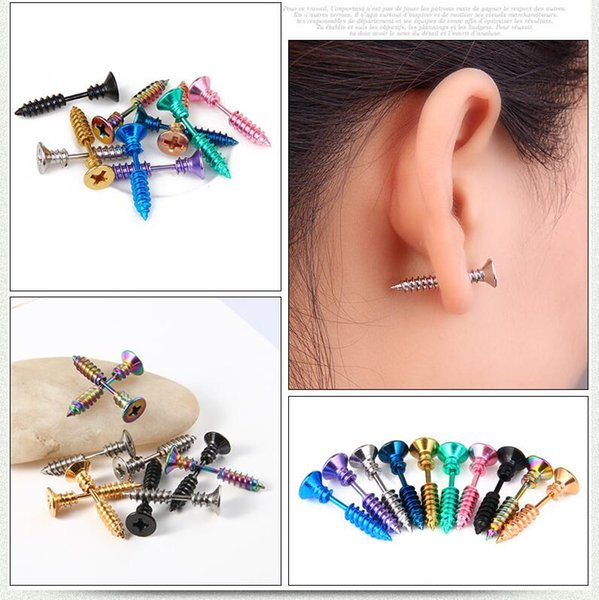 Stainless Steel Stud Earrings Black Gold Sliver Colorful Screws Unisex Punk Men Screw Stud Earring Ear Stud 10 Colors Free Shipping