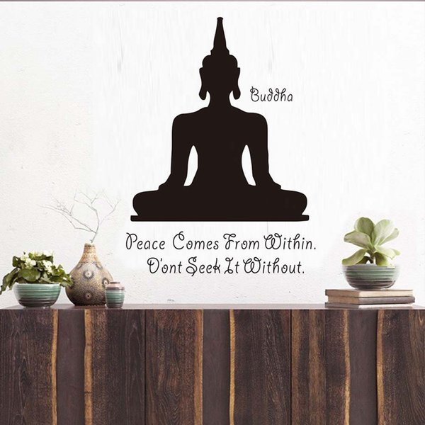 1 Pcs Peace Comes From Within Buddhism Aphorism Quotes Wall Decal Art Yoga Meditation Pose Buddha Wall Sticker Home Decor Bedroom