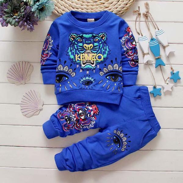 NUEVOS bebés varones 1-4 años Traje para niñas Chándales 2 Ropa de niños Conjunto Venta caliente Moda Primavera otoño Vestidos para niños Suéter de manga larga