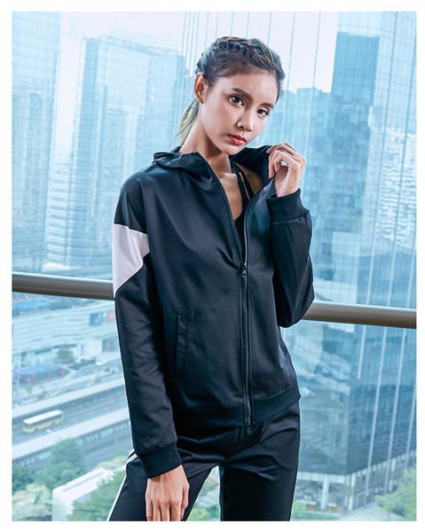 das mulheres Fatos Top + Pants 2020 Chegada nova manga comprida Designer Macacões Moda Zipper Costura Yoga Sports Casual mulheres Streetwear