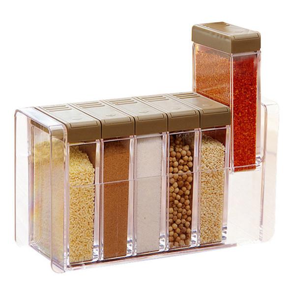 Cucina stagionatura Bottiglie Vasi scatole di plastica Spice coperchio può Zucchero Livelli dell'organizzatore di immagazzinaggio Box Home Organizzazione Accessori Articolo