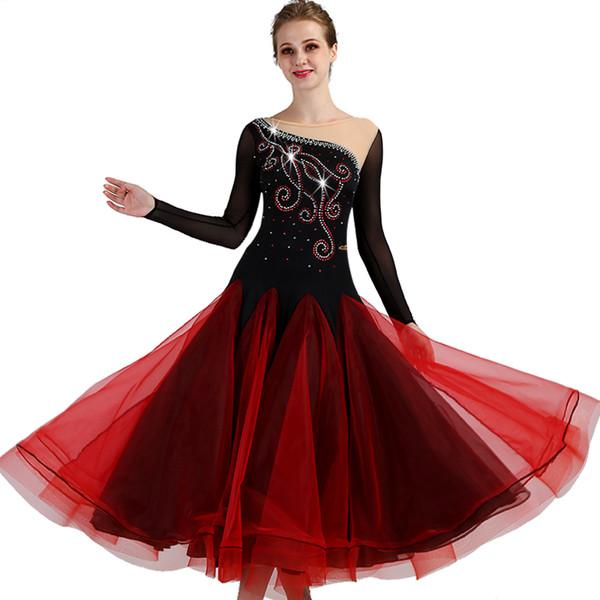 Novo Design de Salão de Baile Vestidos Mulheres Rhinestone Vestido de Dança 2019 Vestido de Valsa Bouffant Saia Tango Vestidos de Dança de Salão VDB591