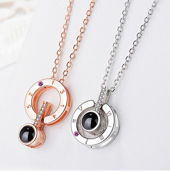 Diamond Rose Gold&Silver 100 languages I love you Projection Pendant Necklace Romantic Love Memory Wedding Necklace