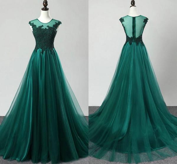 Emerald Green Empire cintura noche vestidos formales baratos 2019 encaje Sheer escote tapa de manga ocasión especial vestido mujeres vestidos de baile Vestido
