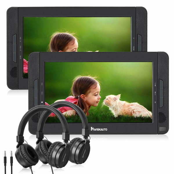 NAVISKAUTO Lecteur DVD de voiture portable double écran 10,1