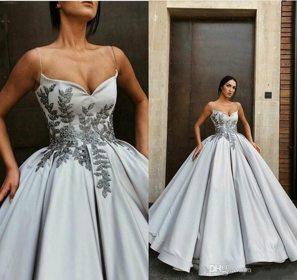 2020 Prom Dress Trends.2020 Gorgeous Silver Spaghetti Long Prom Dresses Lace Appliqued Ball Gown Quinceanera Evening Gowns Floor Length Plus Size Party Wear Prom Dresse S