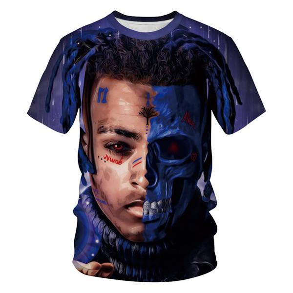 RIP XXXTENTACION Mens Tshirts 3D Digital Печатается с короткими рукавами Мода США Rapper Мужской Футболки тинейджеров Дизайнер одежды лета