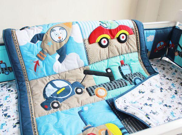 7Pcs Crib bedding set Cotton Cot bedding set locomotive puppy Baby bedding set for infant boy Baby Quilt Bumper Embroidery cartoon Dog