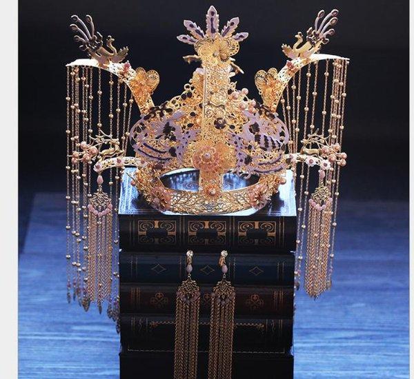 Tocado de corona de Phoenix, pendientes, traje de borlas, dragón y chaqueta de Phoenix, adornos para el pelo de la novia