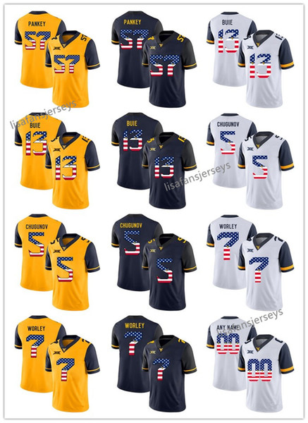 watch 5f234 148e9 2019 Mens West Virginia Mountaineers Jerseys 57 Adam Pankey 13 Andrew Buie  5 Chris Chugunov 7 Daryl Worley USA Flag College Football NCAA Jersey From  ...