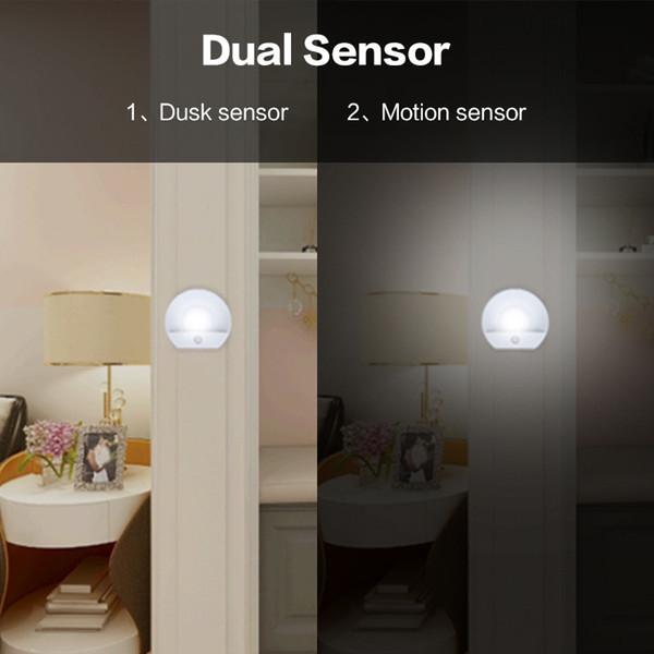 USB Charging Night Light Double Induction Wall Lamp Infrared Human Body Induction Motion Sensor Dusk Sensor