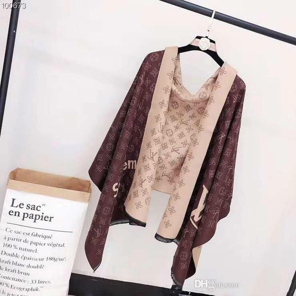 Mujeres Invierno Cachemira Bufanda Diseño de letras Famoso Vintage Gran manta Marca Bufanda Diseñador Cuello Cálido Bufanda de Navidad para mujer 180X70 Envolturas